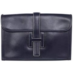 Hermes Navy Leather Jige H PM 29cm Clutch Bag