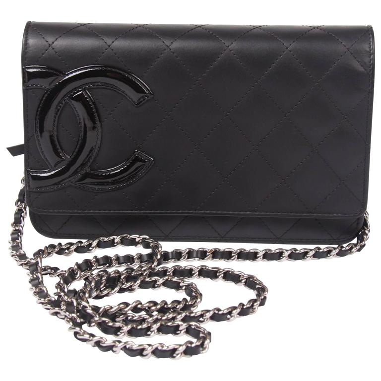 ed3ec8206c93f Chanel Ligne Cambon Wallet On Chain Bag - black at 1stdibs