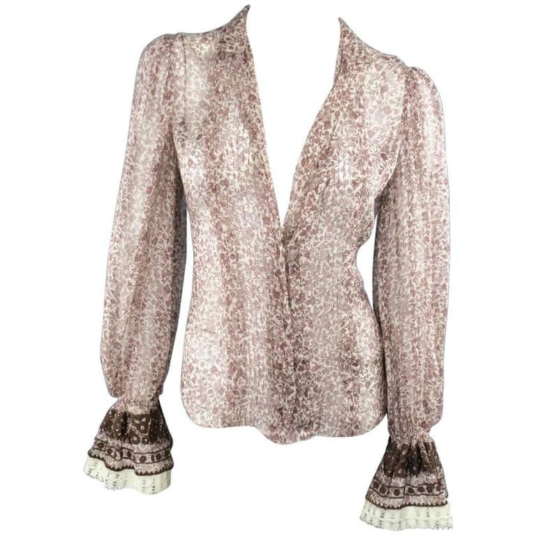 OSCAR DE LA RENTA Size 6 Brown Floral Silk Lace Ruffle Cuff Blouse For Sale