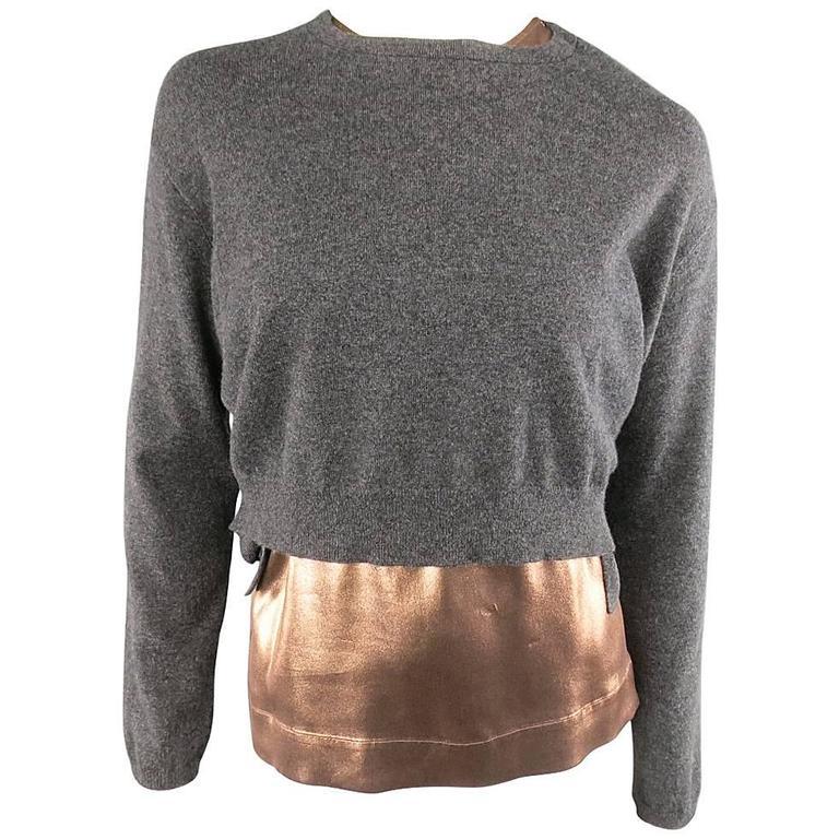 BRUNELLO CUCINELLI Size M Bronze Blouse Charcoal Cashmere Sweater ...
