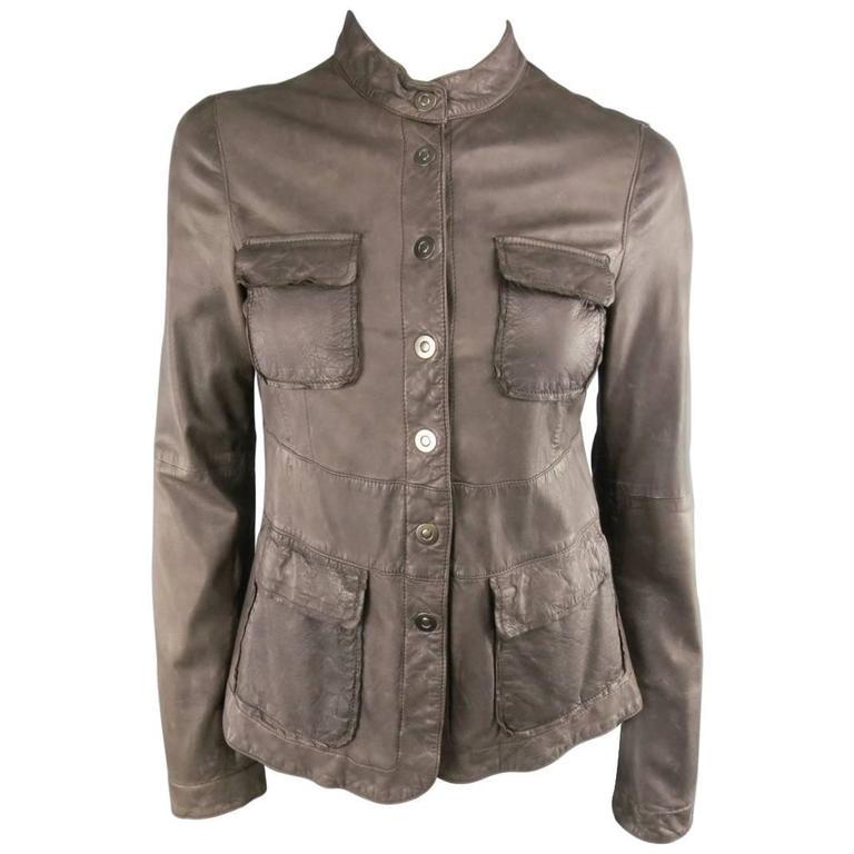 EMPORIO ARMANI Size 6 Taupe Distressed Leather Nehru Collar Snap Pocket Jacket