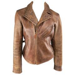 RALPH LAUREN Size M Tan Distressed Leather Biker Jacket