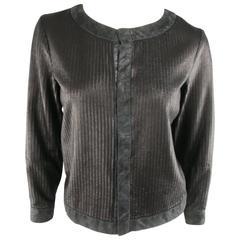GIORGIO BRATO Size 4 Teal Black Textured Leather Round Collar Piping Jacket