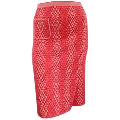 CHANEL Size 8 Red & Pink Rhombus Cashmere Fall 2003 Skirt