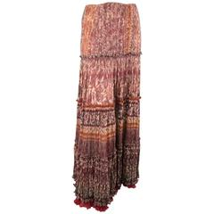 OSCAR DE LA RENTA Skirt - Size 8 Burgundy Floral Textured Silk Boho Maxi Skirt