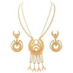 FLORENZA c.1960's Gold Egyptian Revival Pendant Necklace Earrings Parure Set