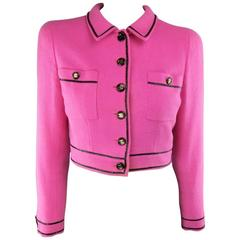 Vintage CHANEL 1995 8 Fuchsia Pink Collared Black Patent Piping Cropped Jacket