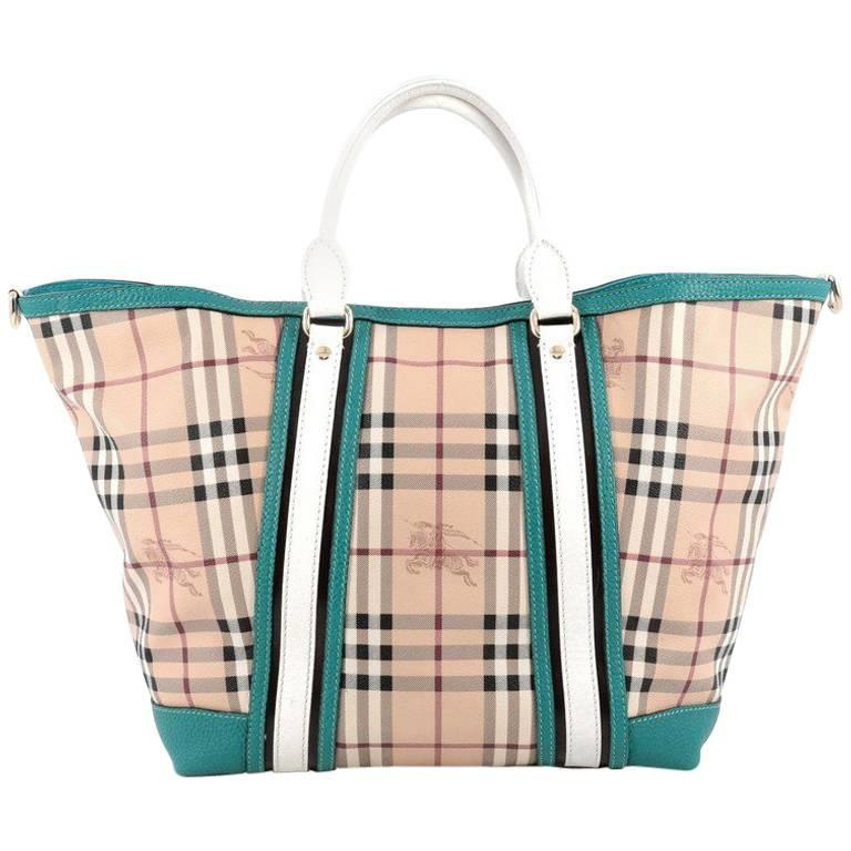 3e7087a22c7a Burberry Jameson Tote Haymarket Coated Canvas and Leather Medium For Sale