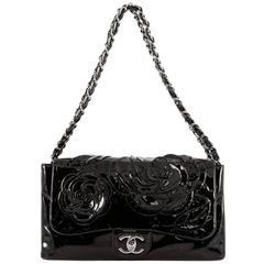 Chanel Tweed Petals Camellia Flap Bag Patent Medium