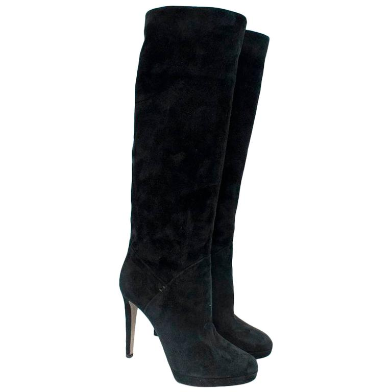 sergio black suede knee high boots for sale at 1stdibs
