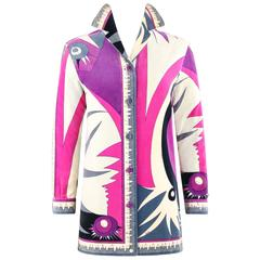 EMILIO PUCCI c.1960's Multicolor Abstract Sunburst Signature Print Velvet Jacket