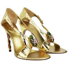 New Tom Ford for Gucci S/S 2004 Gold Python Jeweled Bamboo Heel Shoes 7B