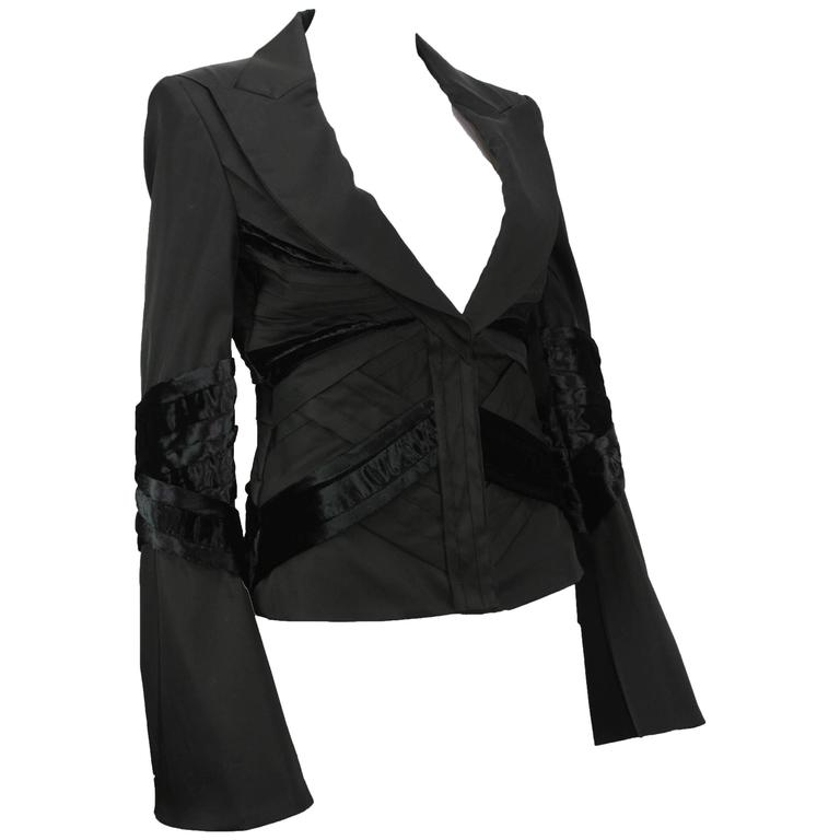 GUCCI by TOM FORD 2004 Collection Black Silk Taffeta Velvet Jacket size S 1