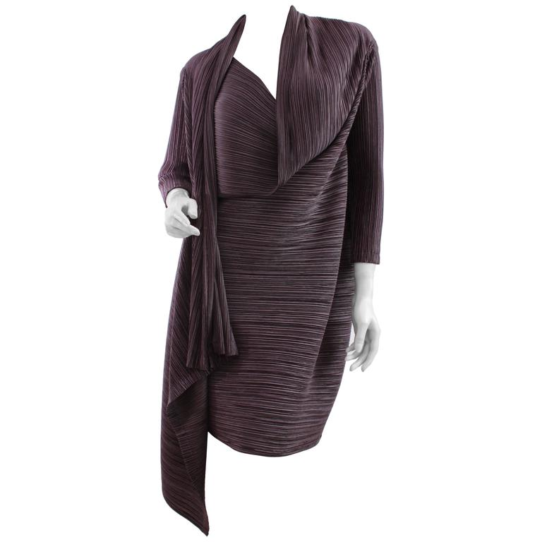 Issey Miyake Asymmetric Pleated Jacket Long Brown Architectural Sz S
