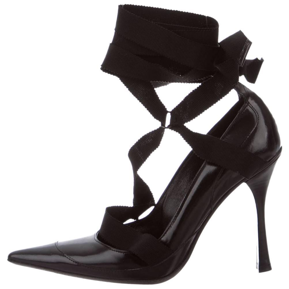 5a8e8ef4c34 New TOM FORD for GUCCI F W 2002 Collection Black Ribbon Leather Pump Shoes 6