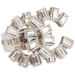 Chanel Rhinestone Baguettes Logo Ring Size 6.5