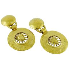 Yves Saint Laurent YSL Vintage Gold Toned Radiant Sun Dangling Earrings