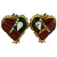 Christian Lacroix Vintage Jewelled Heart Clip-On Earrings