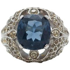 Mid 20th Century Jomaz Blue Sapphire & Clear Rhinestone Costume Cocktail Ring