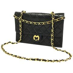 1980s Mila Schon Black Quilted Leather Gold Chain Cross body Purse