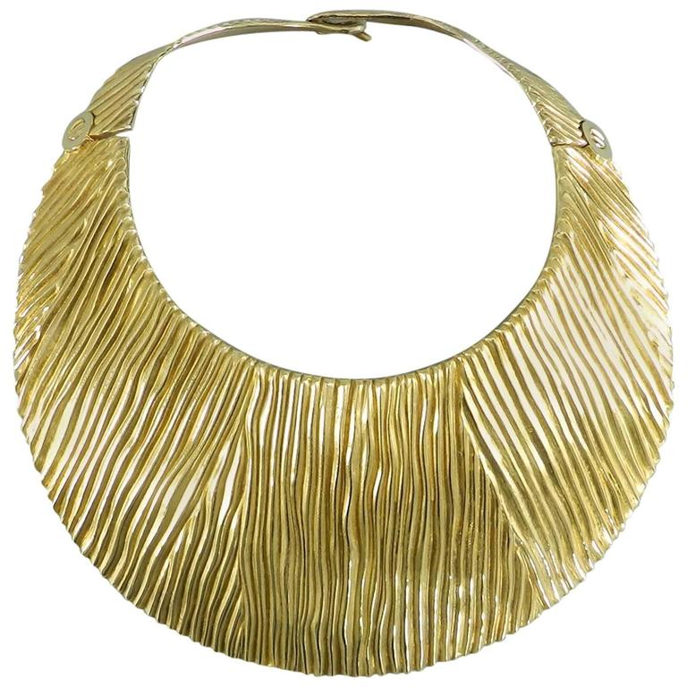 Tom Ford Huge Sterling Vermeil Statement Collar Necklace  1
