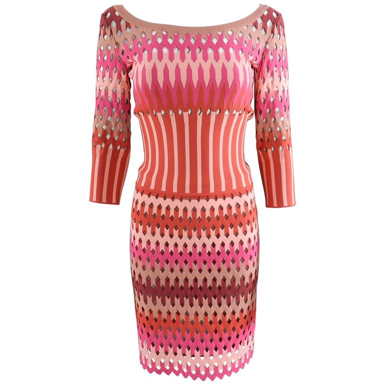 ALAIA red and pink cut out diamonds bodycon stretch dress For Sale