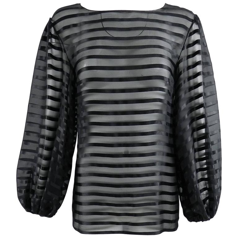 Chanel Sheer black striped blouse with full sleeves For Sale