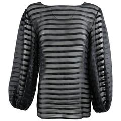 Chanel Sheer black striped blouse with full sleeves