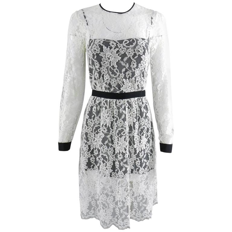 Erdem resort 2014 White Lace 1950s style Dress For Sale