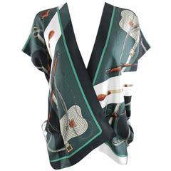 Hermes Clic Clac by Julia Abadie Green Silk Twill Scarf Blouse / Top