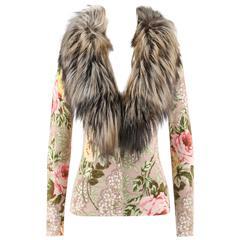 BLUMARINE A/W 2006 Multicolor Floral Print Genuine Fox Fur Collar Cardigan