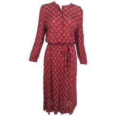 Vintage Celine fine wine silk knit print button front dress and belt 1970s
