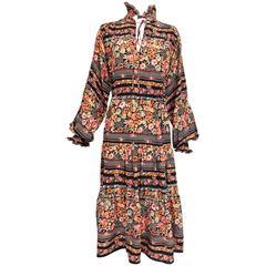 Vintage Rety Paris floral silk crepe bohemian style dress 1970s