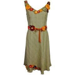 Moschino natural silk linen shift dress with floral appliques and ribbon belt
