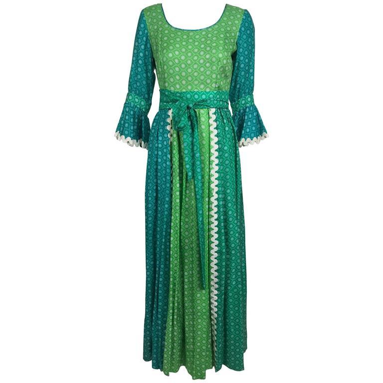 The Mirrors vintage aqua and green silk print maxi dress with white trim 1970s
