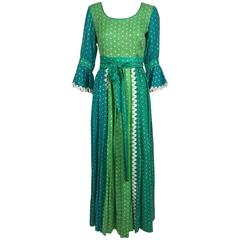 The Mirrors vintage aqua and green silk print maxi dress with white trim 1970s
