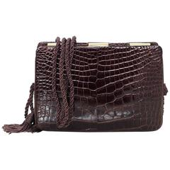 Judith Leiber Vintage Brown Crocodile Evening Bag