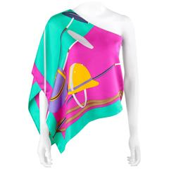 RALPH LAUREN COLLECTION Silk Equestrian Polo Theme One Shoulder Scarf Blouse Top