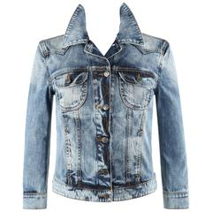McQ ALEXANDER McQUEEN Cotton Stone Wash Denim Blue Jean Skull Wings Jacket RARE