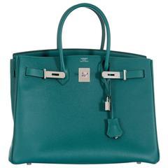 Hermes Birkin Bag 35 Malachite Epsom with palladium Hardware