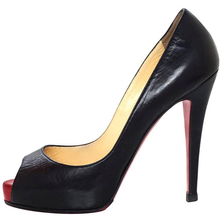 christian louboutin black very prive 120 pumps sz 37 for sale at 1stdibs rh 1stdibs com
