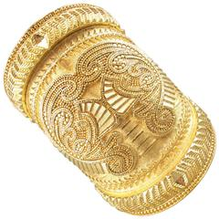 BALMAIN Gold Tone Engraved Brass Oversized Cuff Bracelet 2012
