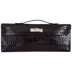 Hermes Kelly cut Black Porosus Crocodile Kelly Cut Clutch Most wanted Color