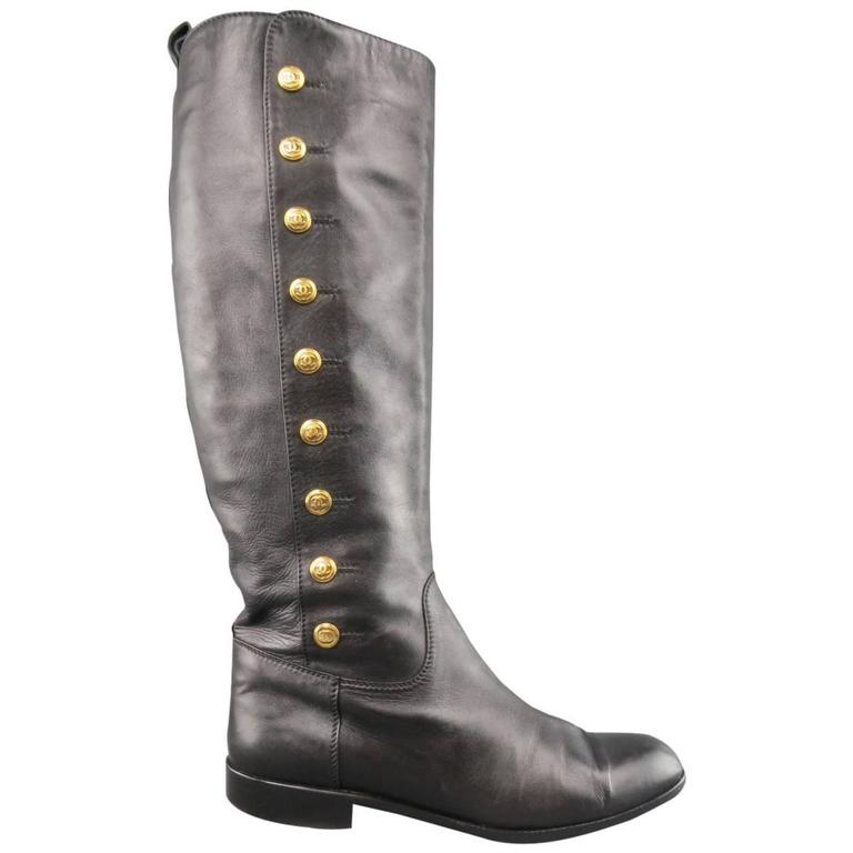 Vintage CHANEL Size 11 Black Leather Knee High Gold Button Boots For Sale