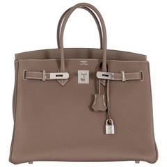Hermes Birkin Bag 35 Etoupe Togo Leather with an extra phone pocket