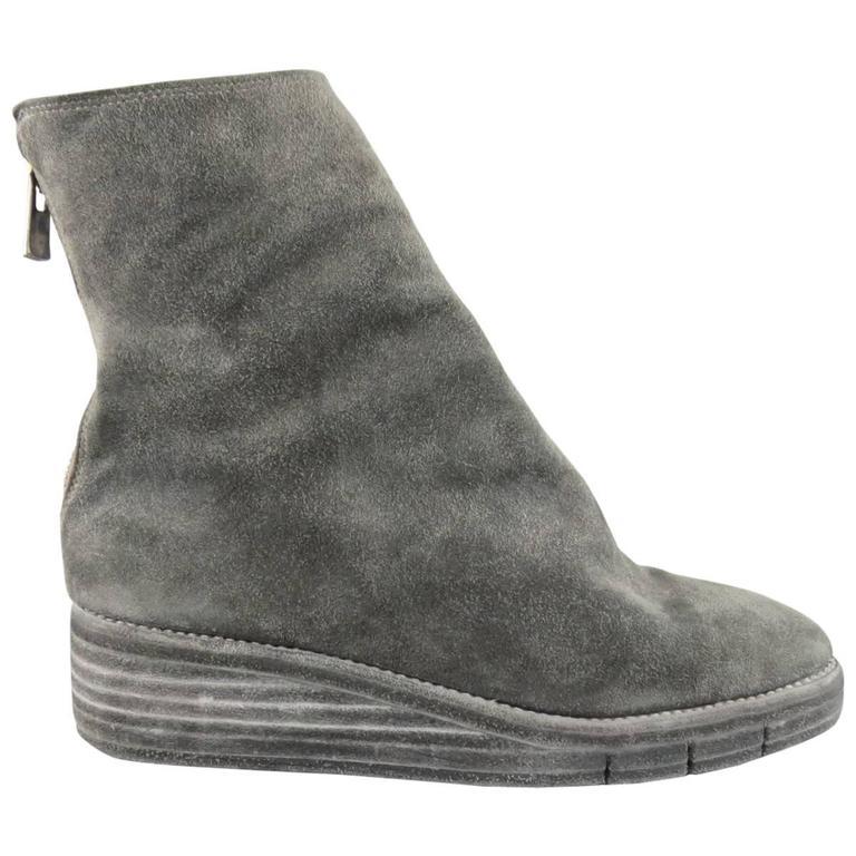 Grey Suede Distressed Boots Guidi bsGqqu