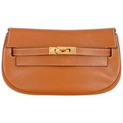 Vintage Hermes Kelly Pochette Clutch Gold Convertible Belt bag