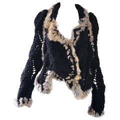 Vintage John Galliano 1990s Rabbit Fur + Wool Black 90s Slouchy Sweater Jacket