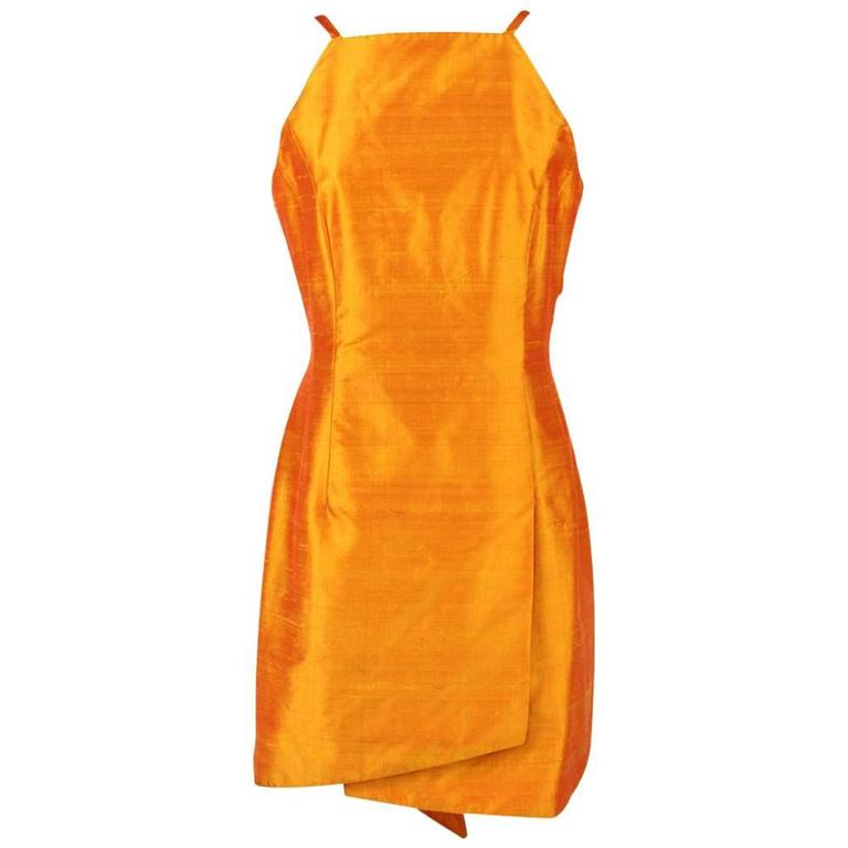 1980s Mila Schön Orange Shantung Silk Dress For