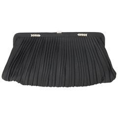 GUCCI Rare VINTAGE Black Satin EVENING BAG Framed CLUTCH
